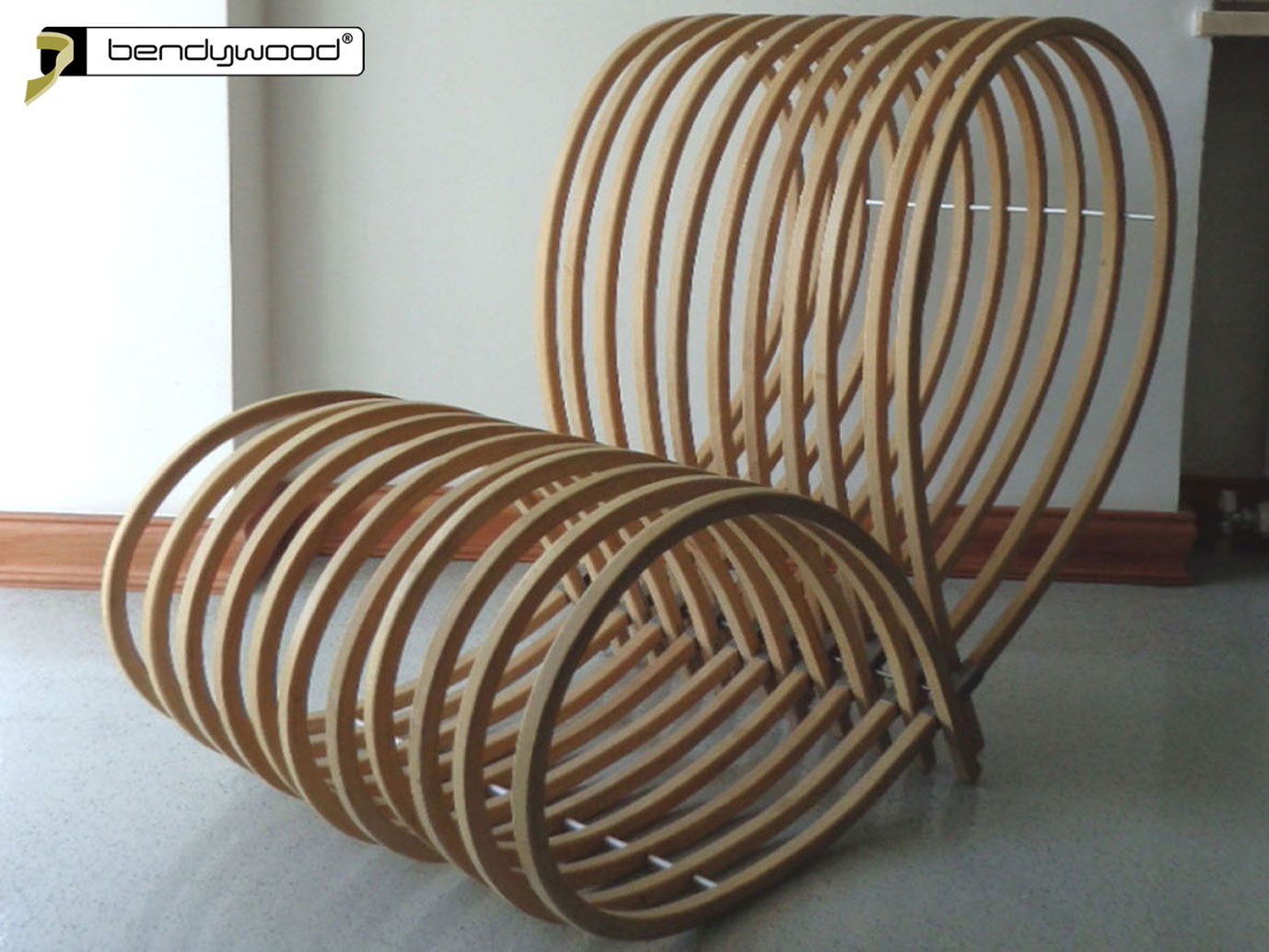 Armchair made of bent Bendywood®-strips