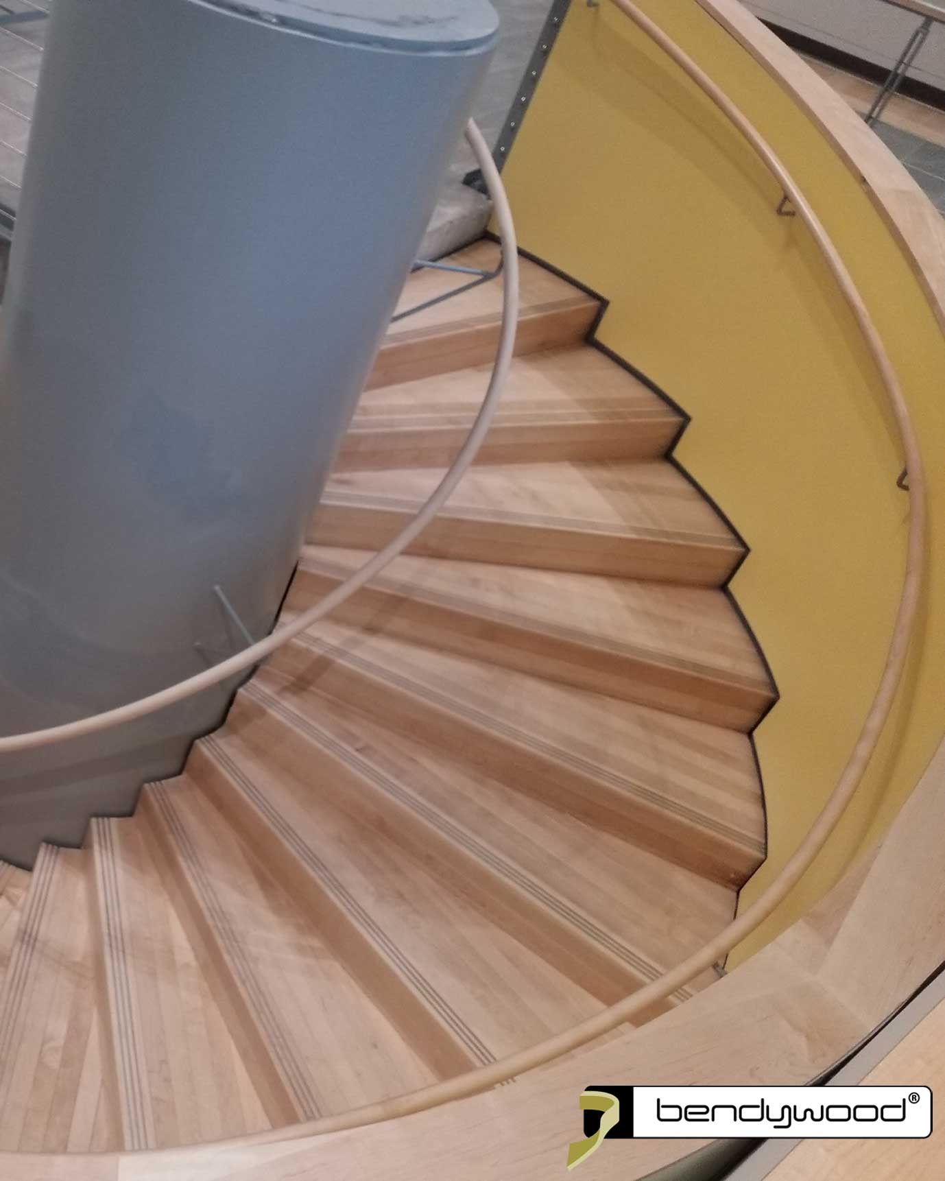 Round bending handrails 40 mm in Bendywood® maple for spiral staircase