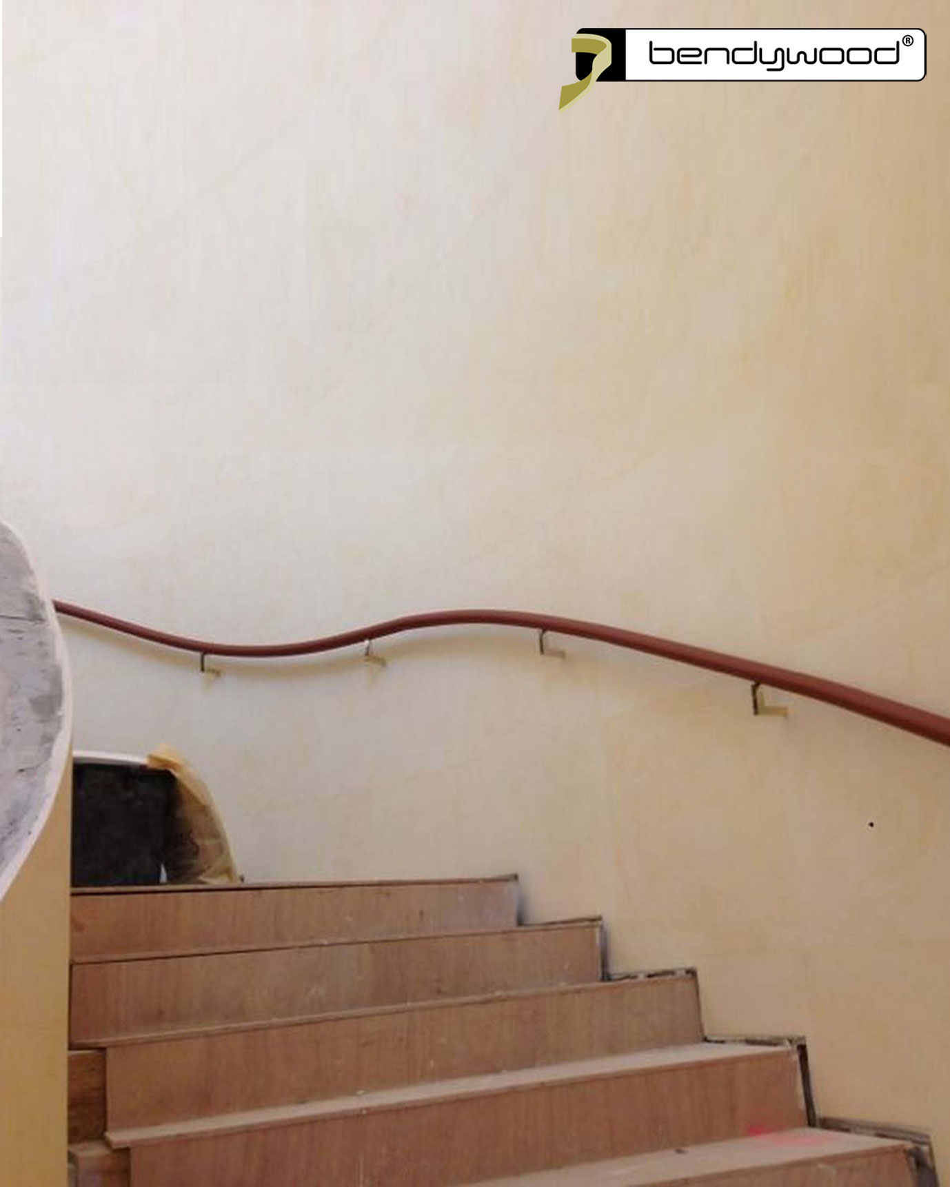Curved wooden Bendywood® handrails 47mm coated with leather