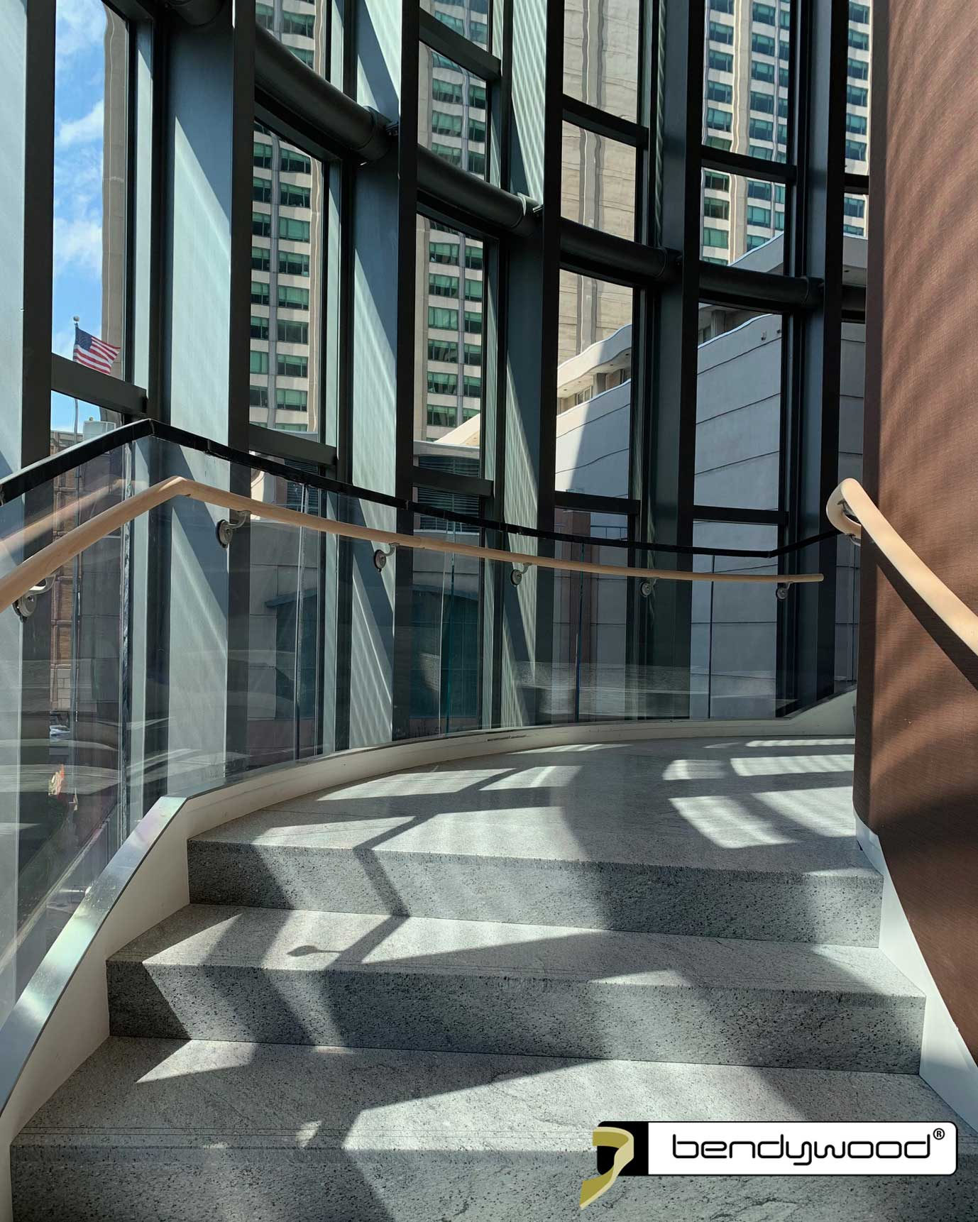 Handrails in Bendywood®-beech for curved staircases, Four Seasons Hotel Boston USA